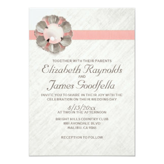 "Antique Lace and Pearl Wedding Invitations 5"" X 7"" Invitation Card"