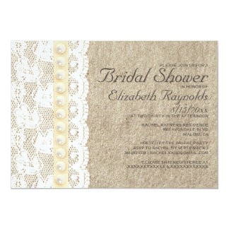 "Antique Lace and Pearls Bridal Shower Invitations 5"" X 7"" Invitation Card"