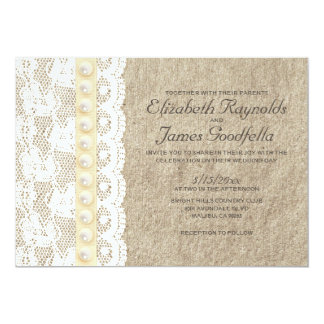 "Antique Lace and Pearls Wedding Invitations 5"" X 7"" Invitation Card"