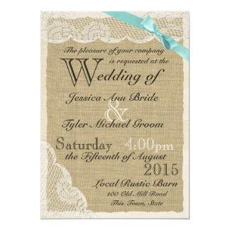 Antique Lace Aqua Bow Country Wedding Card