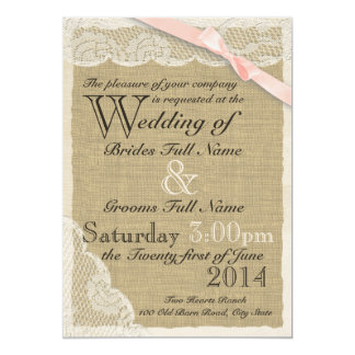 Antique Lace Blush Bow Country Wedding 5x7 Paper Invitation Card