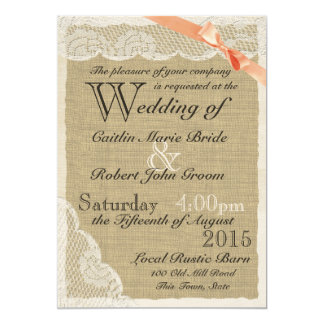 Antique Lace Coral Bow Country Wedding Card