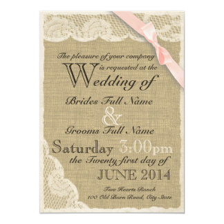 Antique Lace Country Blush Wedding 5x7 Paper Invitation Card
