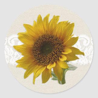 Antique Lace Country Rustic Sunflower Stickers