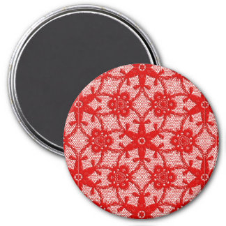 Antique lace - deep red and white magnet