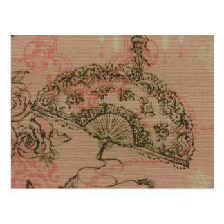 Antique Lace Fan Postcard