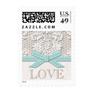 Antique Lace Look Love Wedding Postage Stamps Blue