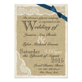 Antique Lace Navy Bow Country Wedding 5x7 Paper Invitation Card