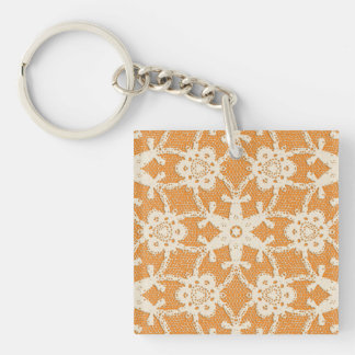 Antique lace - orange and cream Double-Sided square acrylic keychain