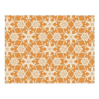 Antique lace - orange and cream postcard