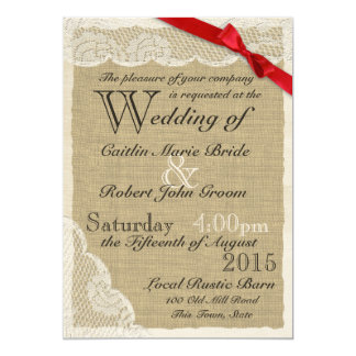 Antique Lace Red Bow Country Wedding 5x7 Paper Invitation Card