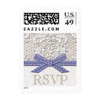 Antique Lace RSVP Wedding Postage Stamps Purple