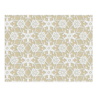 Antique lace - white and beige postcard