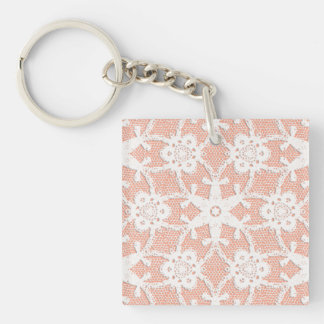Antique lace - white and peach square acrylic keychain