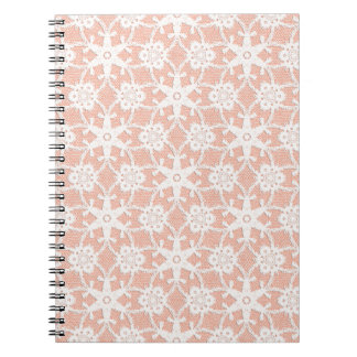 Antique lace - white and peach notebook