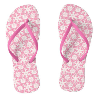 Antique lace - white and rose pink flip flops