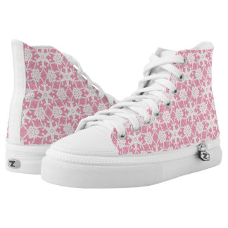 Antique lace - white and rose pink High-Top sneakers