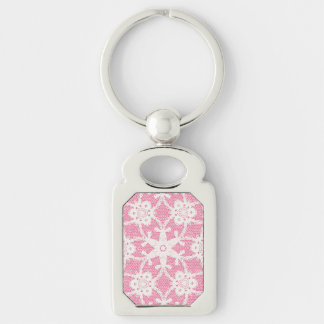 Antique lace - white and rose pink keychain