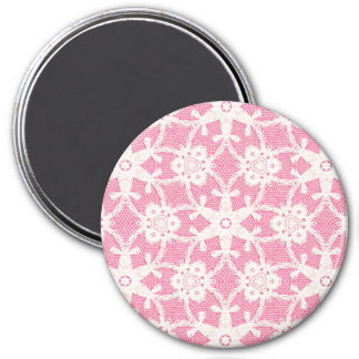 Antique lace - white and rose pink magnet