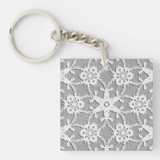 Antique lace - white and silver grey keychains