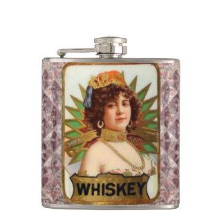 Antique Lady Crystal Whiskey Bottle Label Flask