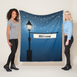 Antique Lamp Post At Night With Custom Family Name Fleece Blanket