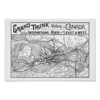 Antique Large Trunk Railway off Canada Map Poster