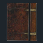 """Antique Leather Bound Engraved Book Cover<br><div class=""""desc"""">Complete with brass locks and engraved leather patterns still visible,  this is an ancient book cover dated 1450.</div>"""