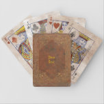 "Antique Leather look Bicycle Playing Cards<br><div class=""desc"">The backside of these cards looks like it&#39;s made of old leather with golden engravings. Please customize the text,  or just delete it.</div>"