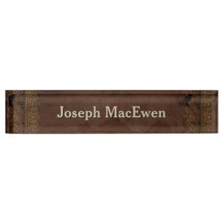 Antique Leather Look Custom Desk Nameplate