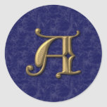 Antique Letter A Round Stickers