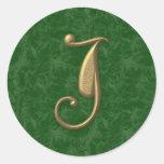 Antique Letter J Round Sticker