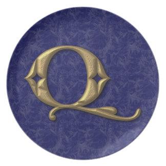 Antique Letter Q (3) Party Plate