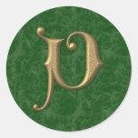 Antique Letter V Round Sticker