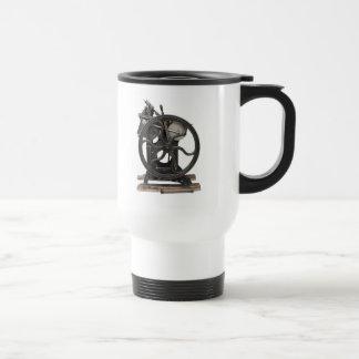 antique letterpress from 1901 commuter travel mug