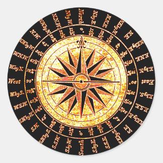 Antique Light Altered Golden Compass Classic Round Sticker