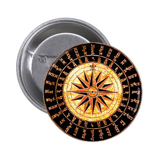 Antique Light Altered Golden Compass Pinback Button
