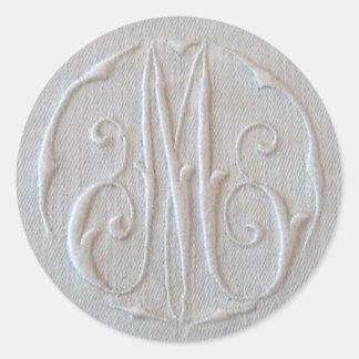 Antique Linen Monogram 'M' Round Stickers