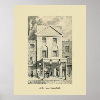 Antique London 1826 Astley's amphitheatre Poster