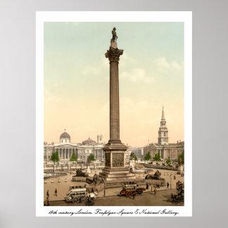 Antique London England Trafalgar Square Poster