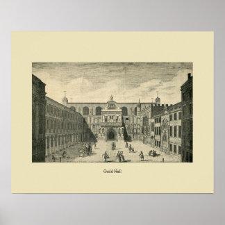 Antique London Guild Hall Poster