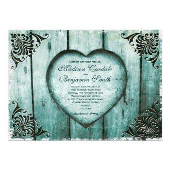 Antique Look Aqua Heart on Wood Wedding Invitation Custom Invitation