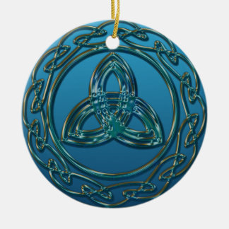 Antique Look Celtic Trinity Knot In Blue Green Ceramic Ornament
