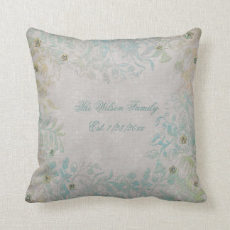 Antique Look Floral Family Throw Pillow