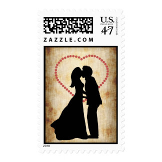 Antique Look Kissing Couple Silhouette Wedding Postage