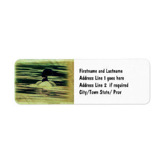 Antique Look Loon on The Water Label