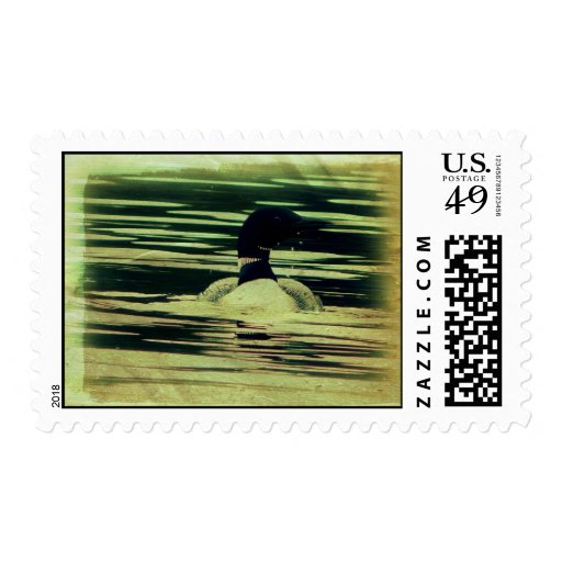 Antique Look Loon on The Water Stamp