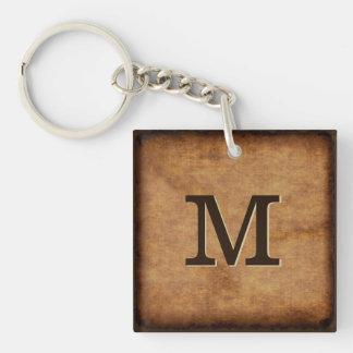 Antique look Monogrammed Keychains for Men