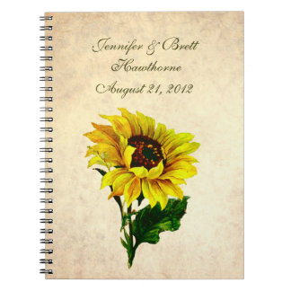 Antique Look Sunflower Wedding Guest Book