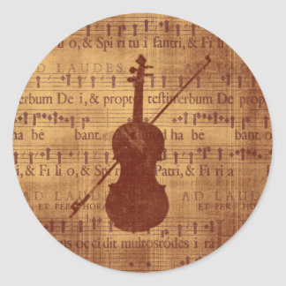 Antique look Violin Round Sticker